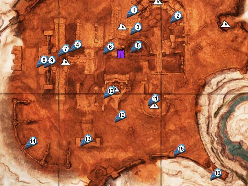 Карта с местами сундуков фрагментов силы